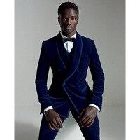 2019 Terno Masculino Navy Blue Velour Slim Fit Men Suit Set Groom Tuxedo Velvet Prom Wedding Suits Regular men suits