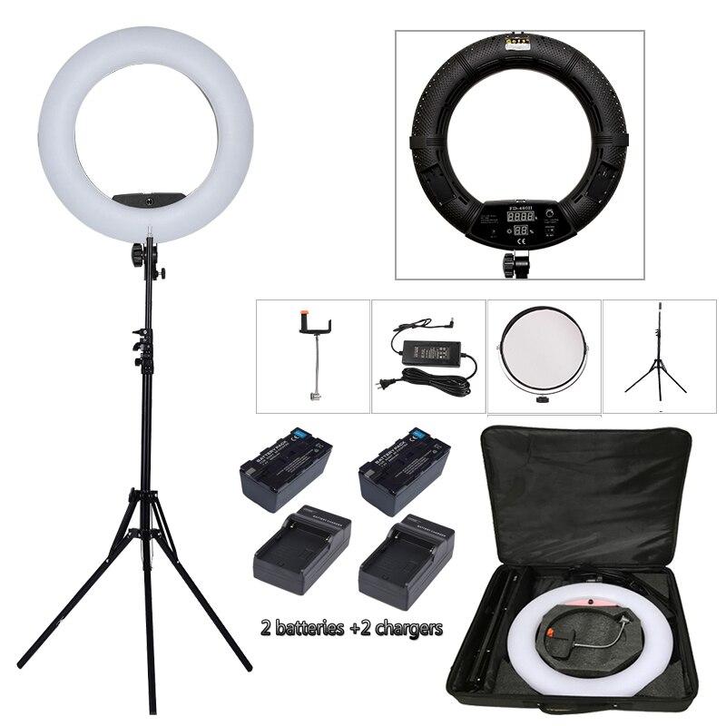 FD-480II Yidoblo Preto Pro LED Salão de Beleza do prego de Iluminação da lâmpada de Iluminação Lâmpada Make up Anel + suporte (2 M) + bag + baterias