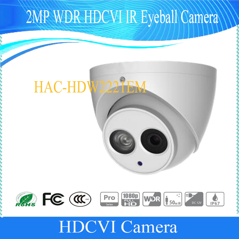 Free Shipping DAHUA Security Camera CCTV 2MP FULL HD WDR HDCVI IR Eyeball Camera IP67 Without Logo HAC-HDW2221EM free shipping dahua cctv security camera 2mp hdcvi ir eyeball camera ip67 without logo hac hdw1220r vf