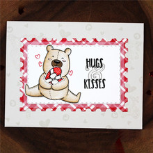 YaMinSanNiO Bear Hugs Kisses Dies Scrapbooking Sets Metal Cutting and Clear Stamps for Crafts Card Making Album Cuts