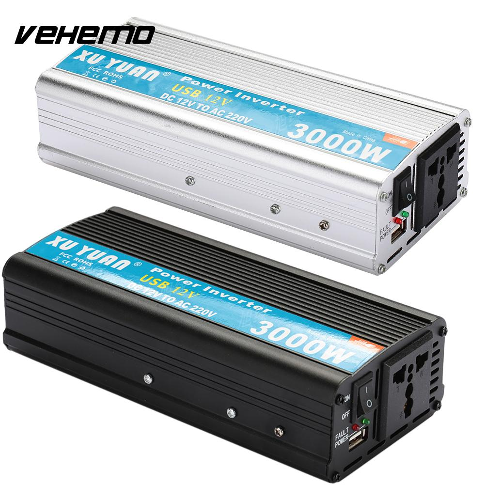 Vehemo Power Inverter Solar Power Inverter Aluminium Alloy 12V To 220V Power Supply Car Inverter 3000W High Performance Premium