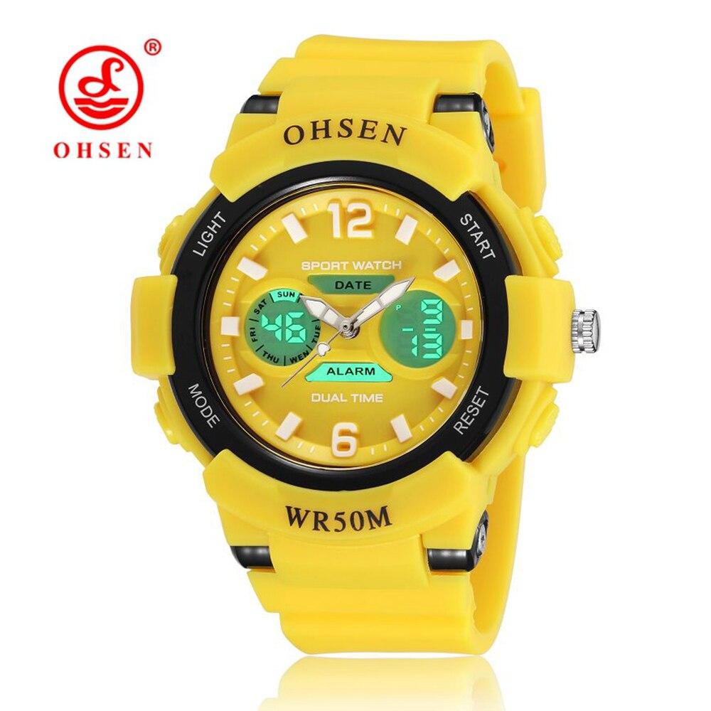 NEW Arrival OHSEN Fashion Digital Watch Kids Girls Wristwatch Yellow Rubber Strap Alarm Date LED 50M