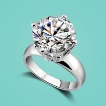 Классические женские 925 серебро кольца благородный Циркон инкрустированные серебряное кольцо дамы популярные ювелирные изделия твердых серебряное кольцо Бесплатная доставка