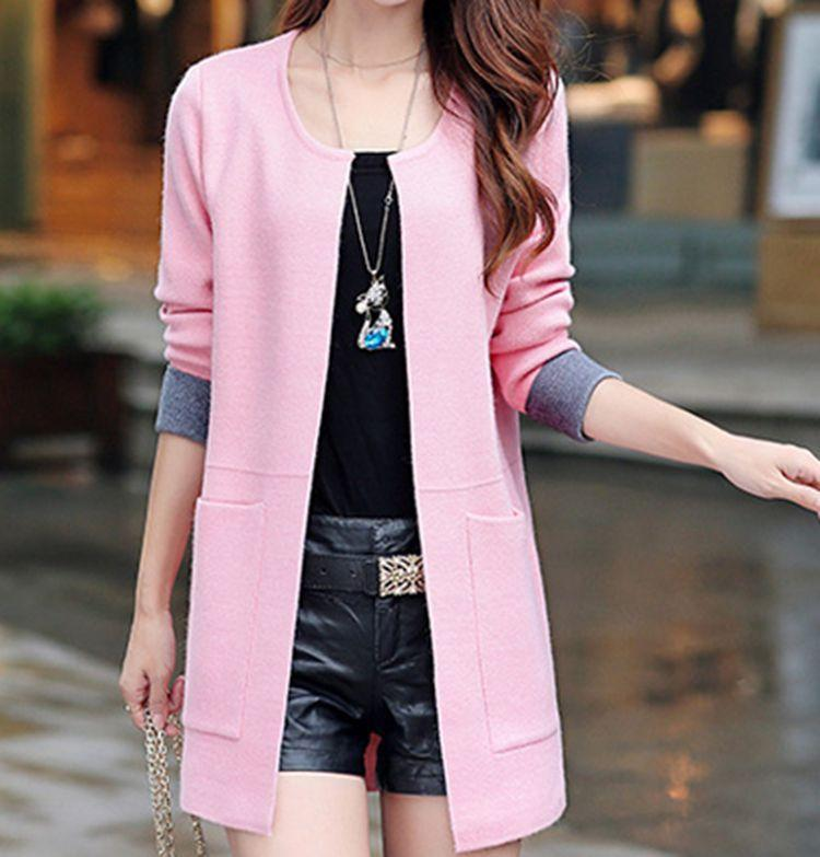 2016 Spring New Women Korean Style Moderate Slightly Long Length O- Neck Solid Corlor Wool Cardigan
