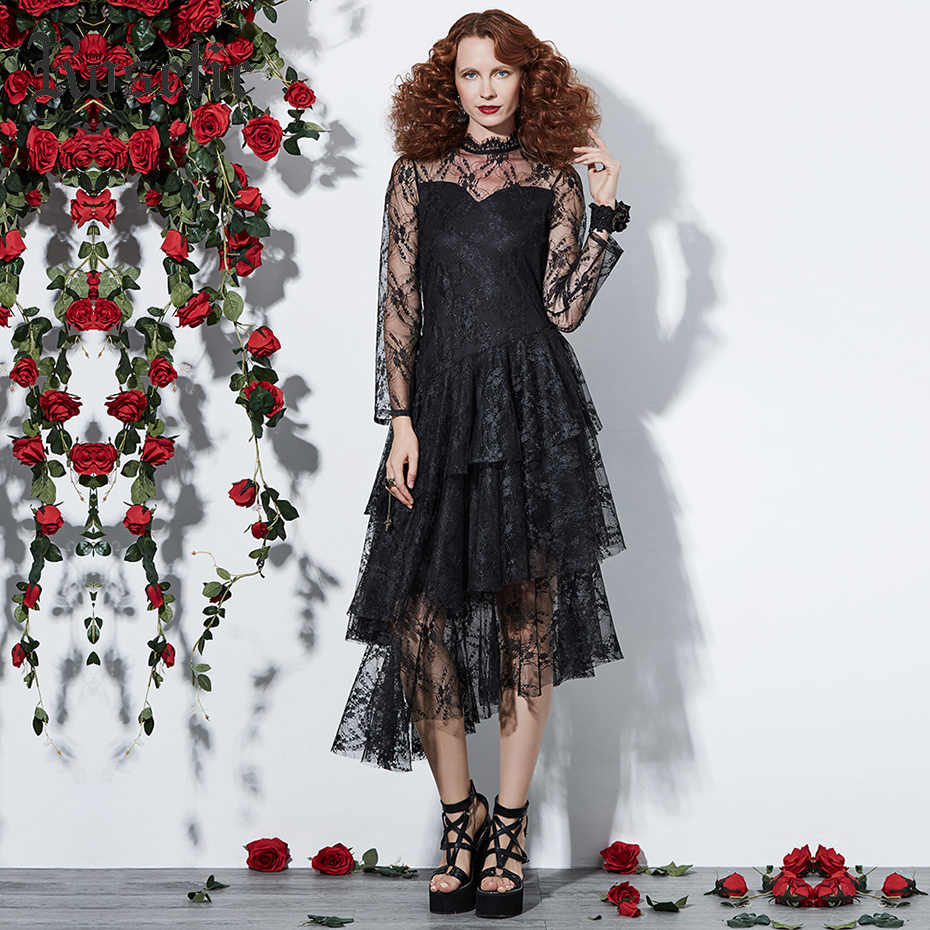 5c7cbd5ac54b Rosetic Gothic Dress Women Black Autumn Mesh See-Through Patchwork Layered Lace  Dress Asymmetric Fashion