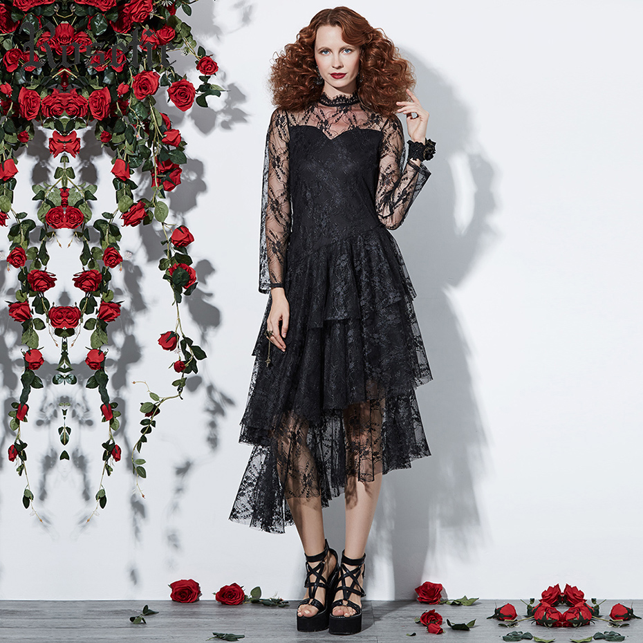 Rosetic Gothic Dress Women Black Autumn Mesh See-Through Patchwork Layered Lace Dress Asymmetric Fashion Sexy Party Goth Dresses