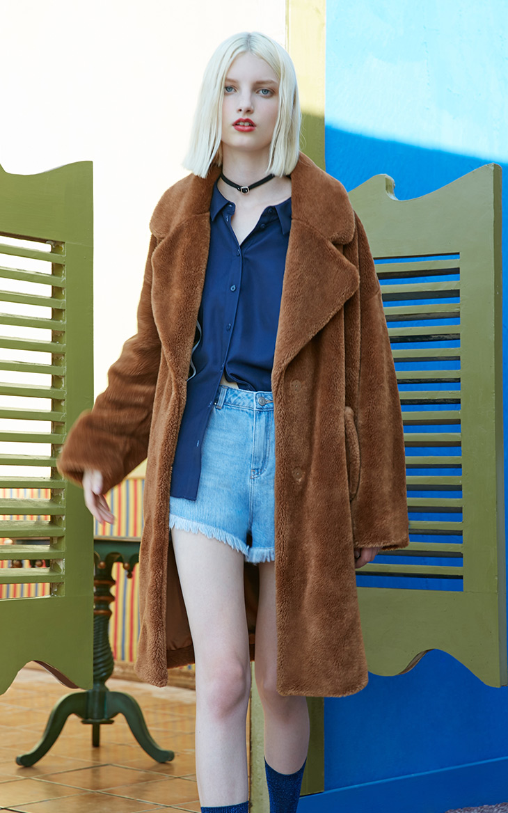Vero Moda lapel drop shoulder long teddy bear winter coat jacket | 318309503 11