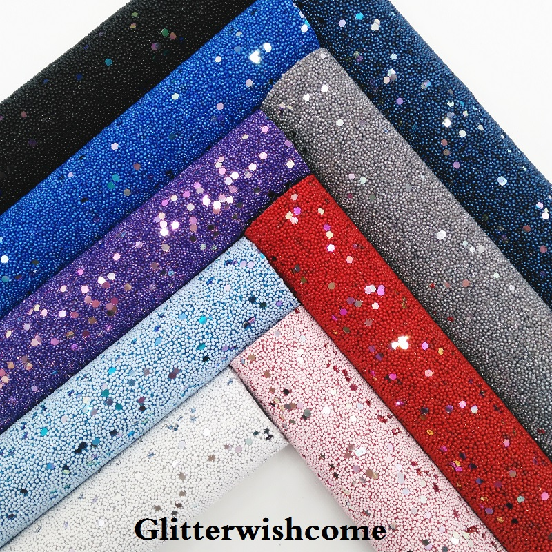 Glitterwishcome 21X29CM A4 Size Vinyl For Bows Pearl Glitter Leather Sheets For Bows, GM246A