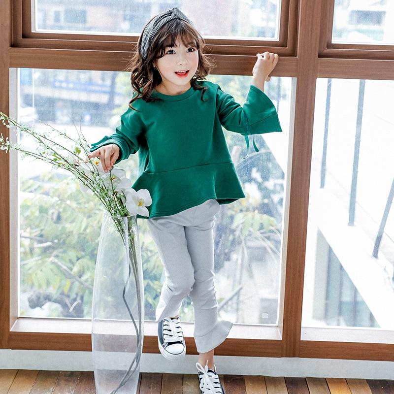 Dropshipping Bebés del Suéter de los Niños de la Camiseta 2017 Algodón del Otoño del Resorte Verde Llamarada Mangas Niños Top Tee Shirt