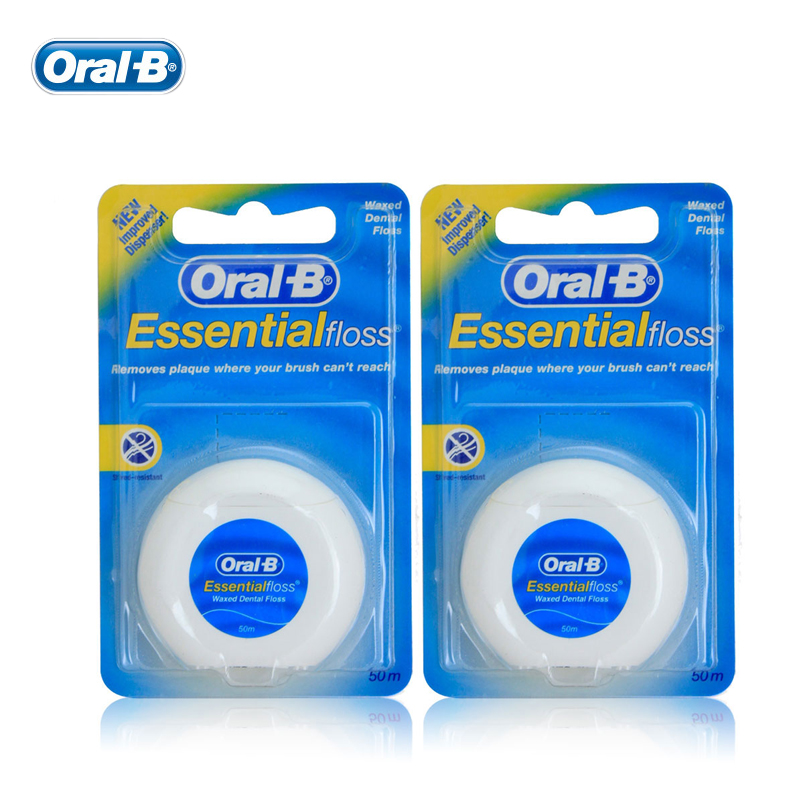 Oral B Essential Flosser Smooth Flat Thread Comfortable dental floss holder Waxed tooth flossing 50m 2 pcs/pack dental care HOT