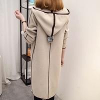 New Women Spring Autumn Hooded Sweater 2017 Long Cardigan Korean Slim Pocket Casual Loose Knit Sweater