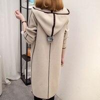 Nouveau Femmes Printemps Automne Chandail À Capuchon 2017 Long Cardigan Coréenne Mince Poche Occasionnel Lâche Tricot Chandail Outwear Manteau