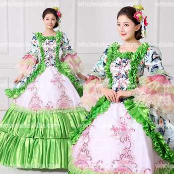 New Floral Printed Masquerade Ball Gown Southern Rococo Belle Dress Reenactment Theatrical Clothing Vestido Costumes