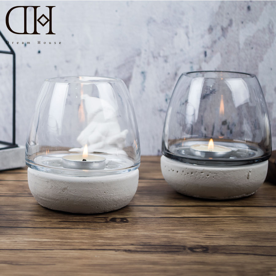 DH Industry style Tealight Holder Glass cup candle holder concrete basement terrarium Wedding Candlestick Bar Decoration