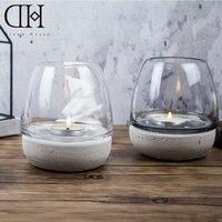 DH estilo Indústria copo Suporte De Vidro suporte de vela Tealight Castiçal De Casamento Bar Decoração terrário porão de concreto