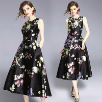 High quality designer floral print sleeveless A line dress New 2018 summer runways elegant dress Fashion OL dress S473