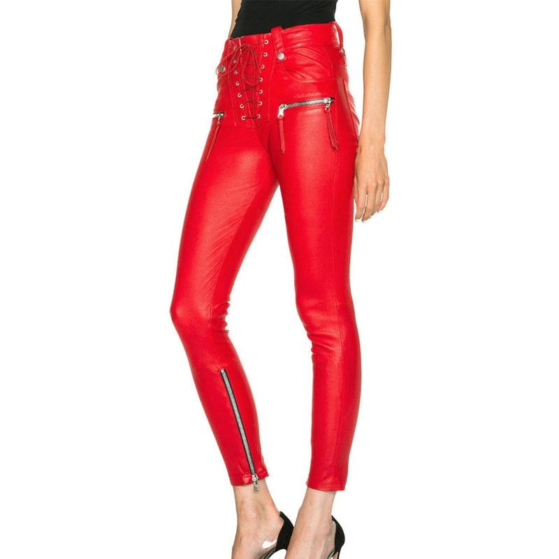 Kadın Giyim'ten Pantalonlar ve Kapriler'de Tasarım PU Deri Bandaj Slim Fit Pantolon Kadın Avrupa Tarzı Punk Deri Pantalon Sonbahar Yan Fermuar Kırmızı Siyah Pantolon Kadın'da  Grup 2