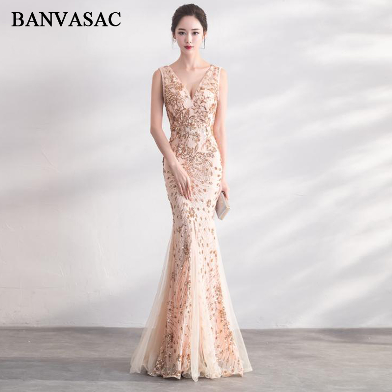 BANVASAC Sequined Sexy V Neck Split Mermaid Long Evening Dresses 2018 Lace Appliques Backless Party Prom Gowns
