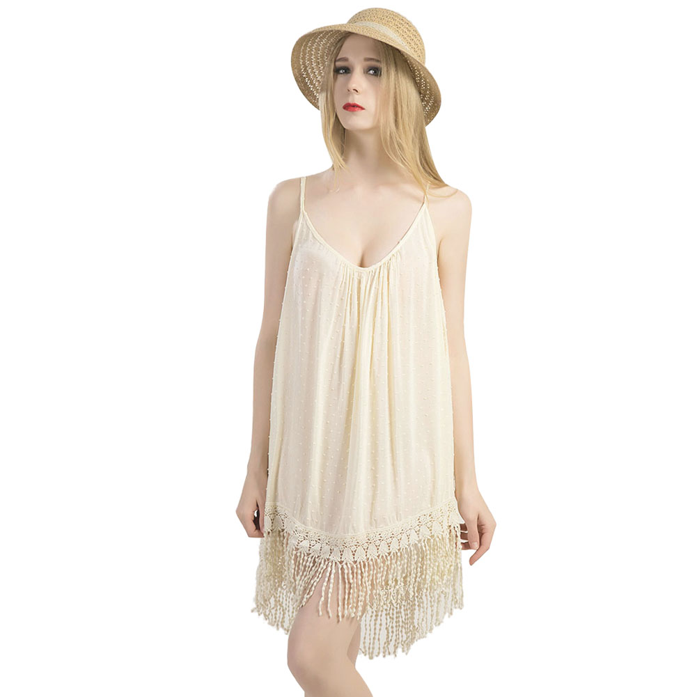 Summer Women Cotton Lace Tassels Sexy Spaghetti Strap Dress Loose Beach Braces Club Wear Dress