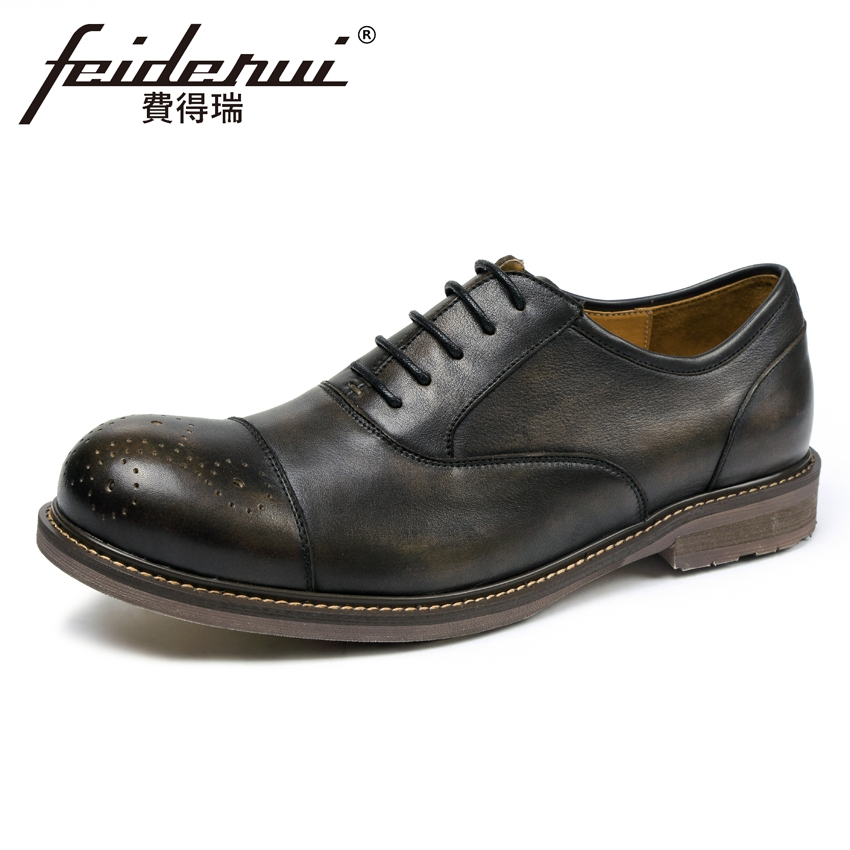 High Quality Genuine Cow Leather Men's Handmade Oxfords Round Toe Lace-up Man Casual Flats British Designer Brogue Shoes KUD11 new arrival luxury man casual shoes genuine leather cow comfortable loafers round toe designer brand men s business flats gd20