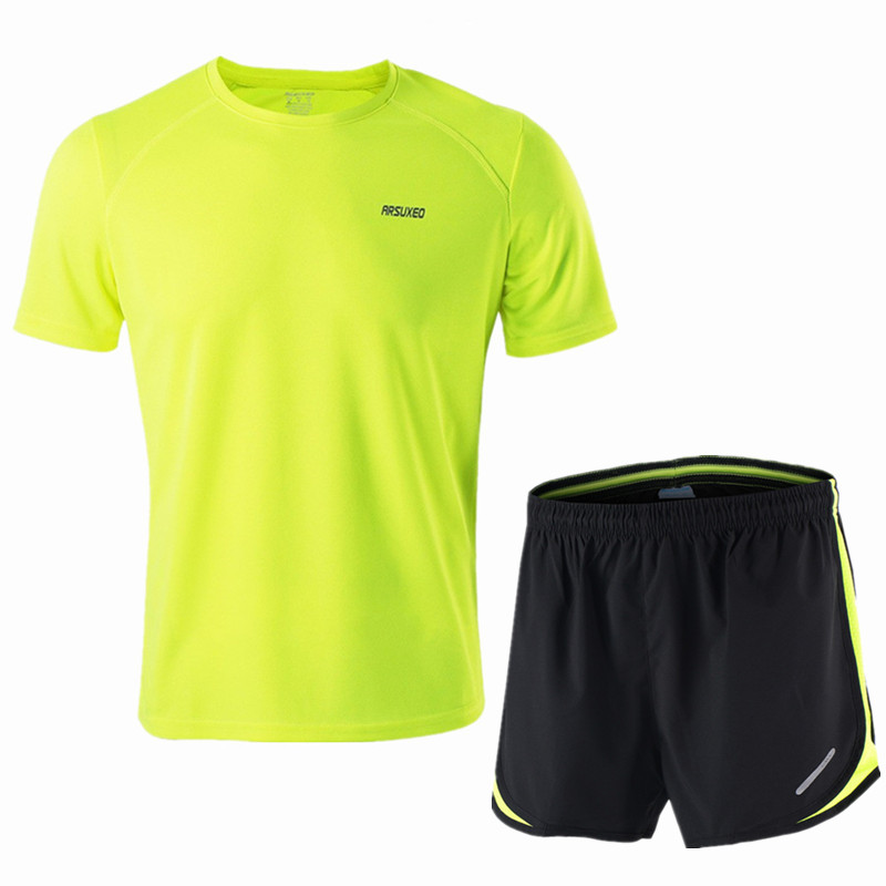ARSUXEO Running Set Men Jogging Jersey Sports Suit Gym Clothing Sportswear Breathable Marathon Shorts and Running Shirts-in Running Sets from Sports & Entertainment on AliExpress