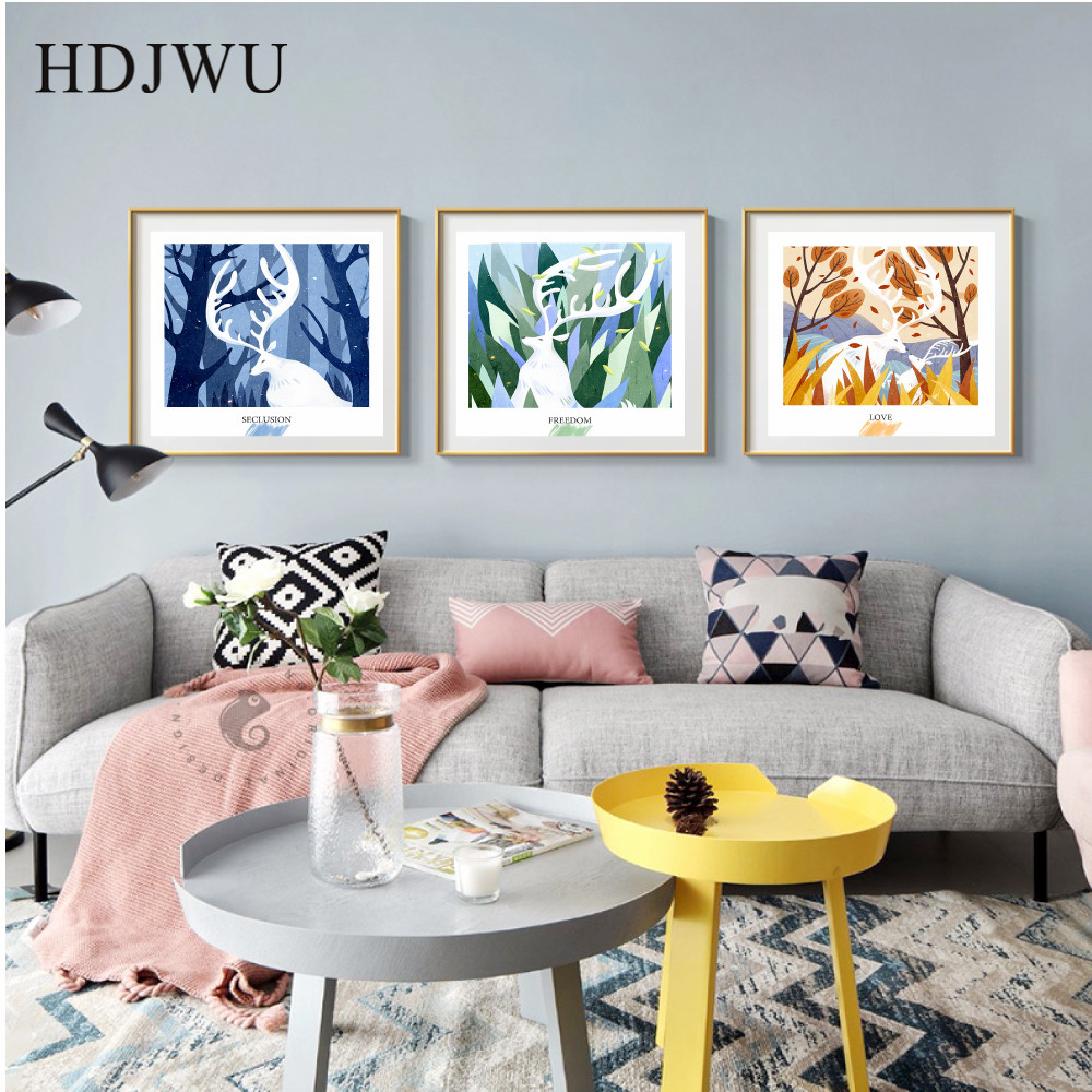 Nordic Art Home Decor Canvas Painting Wall Pictrue Fashion forest And deer Printing Wall Poster for Living Room DJ111 in Painting Calligraphy from Home Garden