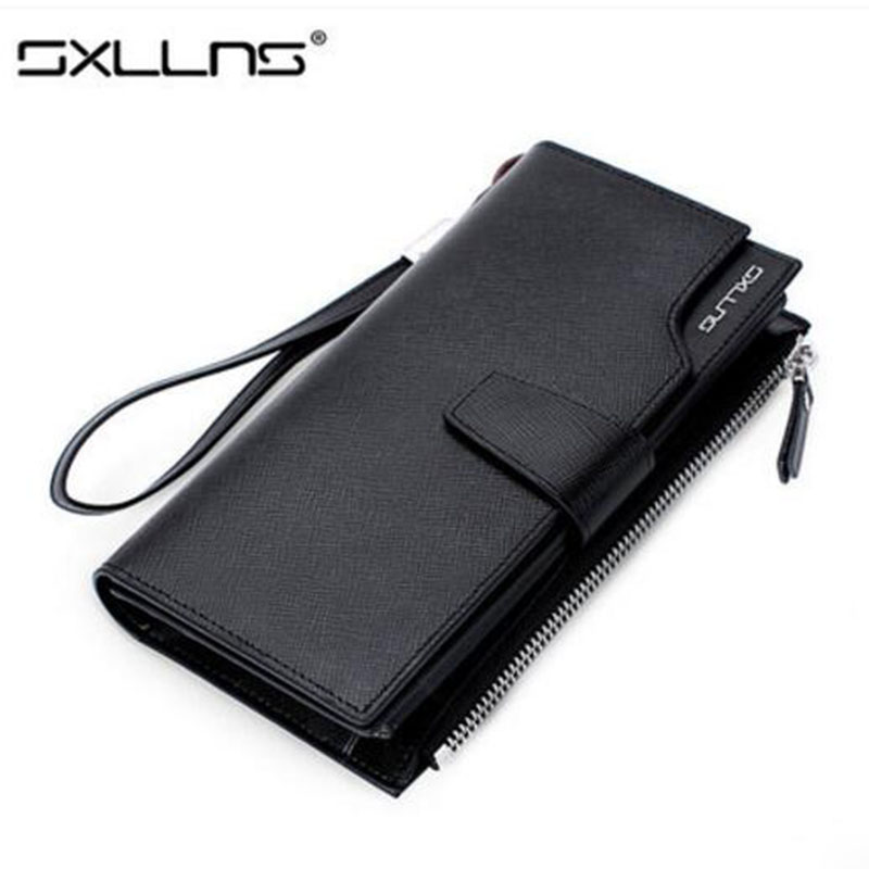 Hot Men Wallets Large Capacity Brand Mens Wallet Purse Genuine Leather Clutch Bags Long Wallet Credit Card Holder Free Shipping