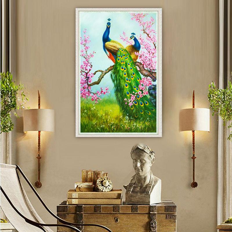 Hot Sale 5D DIY Diamond Painting Peacock Craft Perfect Home Decor Wall Decor  Spring Scenic Diamond Picture 52cm X 12cm X 10cm