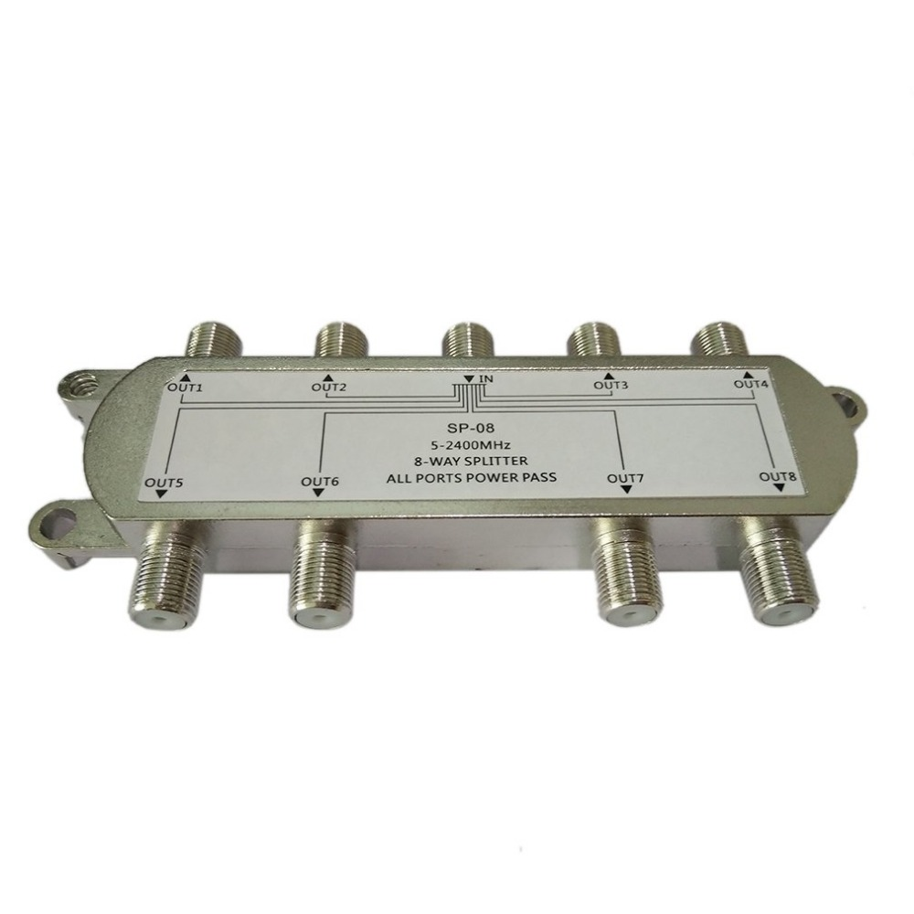 Image 2 - SP 08 8 Way Signal Satellite Splitter TV Antenna RF Coaxial Cable Splitter Wholesale-in TV Antenna from Consumer Electronics