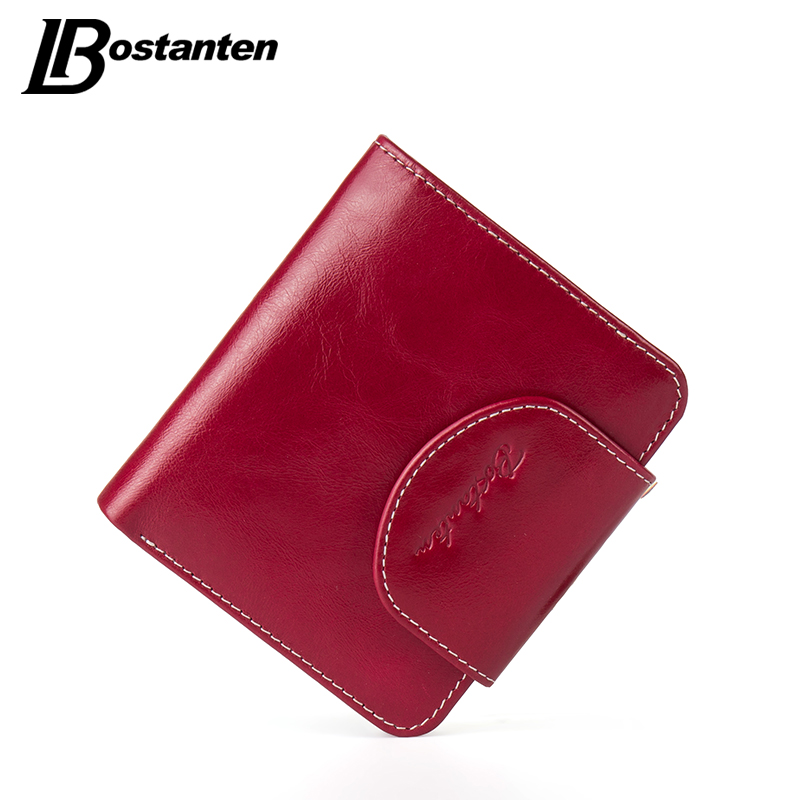 BOSTANTEN Cow Genuine Leather Women Wallets Luxury Brand Small Wallet Hasp Credit Card Holder Wallets Ladies Short Coin Purse
