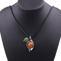Wholesale 20pcs Colorful Stone Leaf Shape Pendant Necklace for Women Rope Chain Jewelry Accessories Sweater Statement Necklace