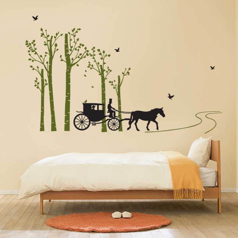 Village Forest Tree Bird Horse Carriage Wall Stickers Living Room Bedroom Painting Tv Background Wall Decals Home Decor Poster