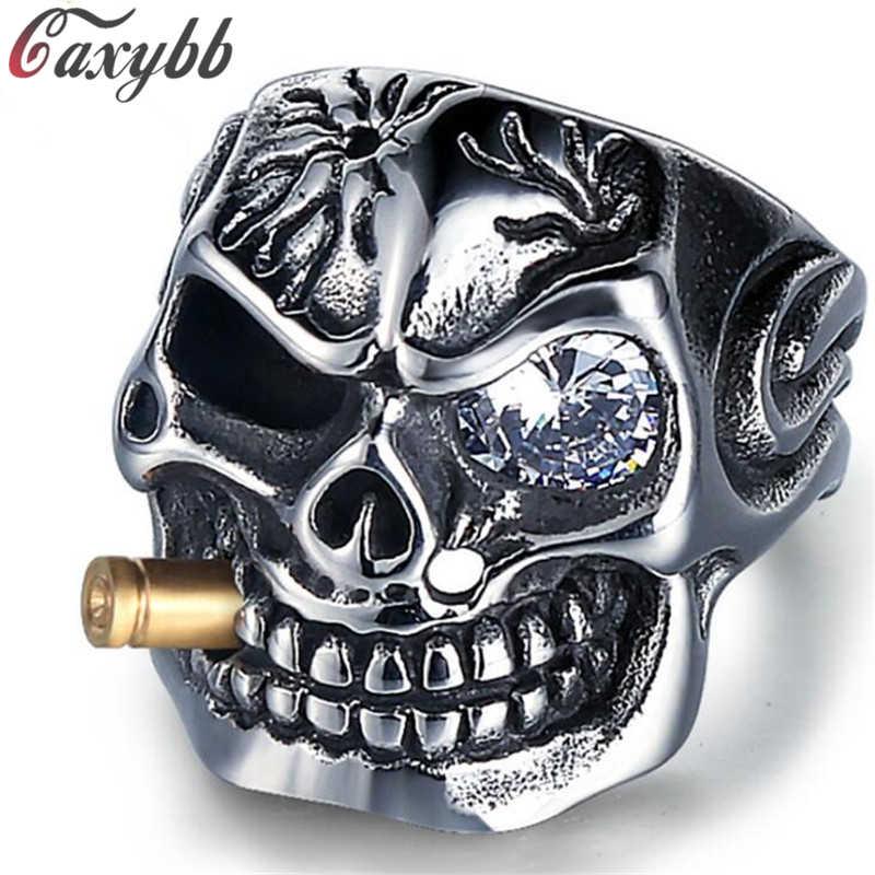 Vàng Ống Hút Biker Nam Nhẫn Đá Punk Skull Nhẫn Titan Steel Rõ Ràng Zircon Mắt Mạ Nhẫn Nam Trang Sức