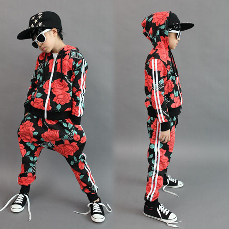 Fashion Spring Autumn Children set Unisex Active Character Hooded zipper sweatshirt  Hip Hop harem pants kids Floral sport suits цены онлайн