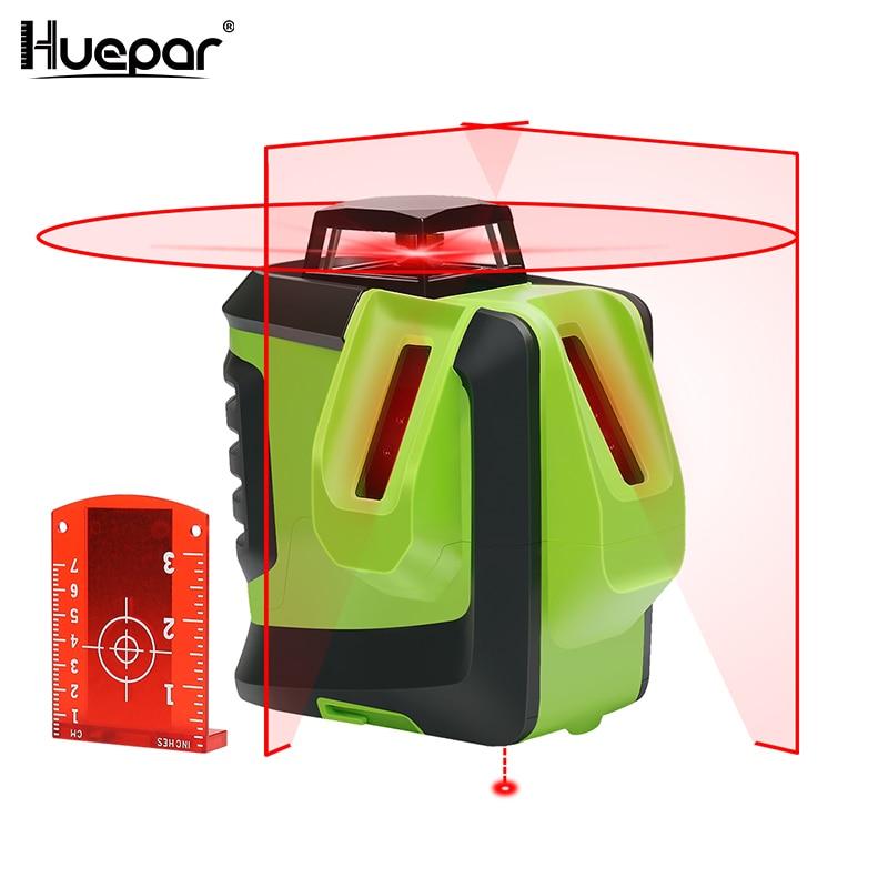 Huepar Red Beam Cross Laser Level 360 Degree Horizontal Two Vertical Lines Plus Plumb Point Self