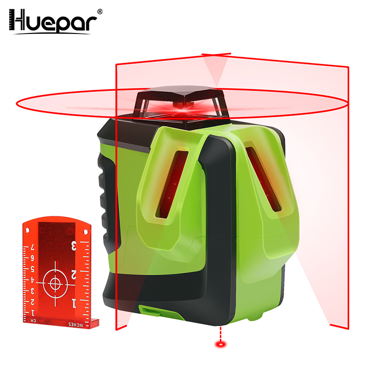 Huepar Red Beam Cross Laser Level-360-Degree Horizontal Two Vertical Lines Plus Plumb Point Self-Leveling Alignment Multi Line