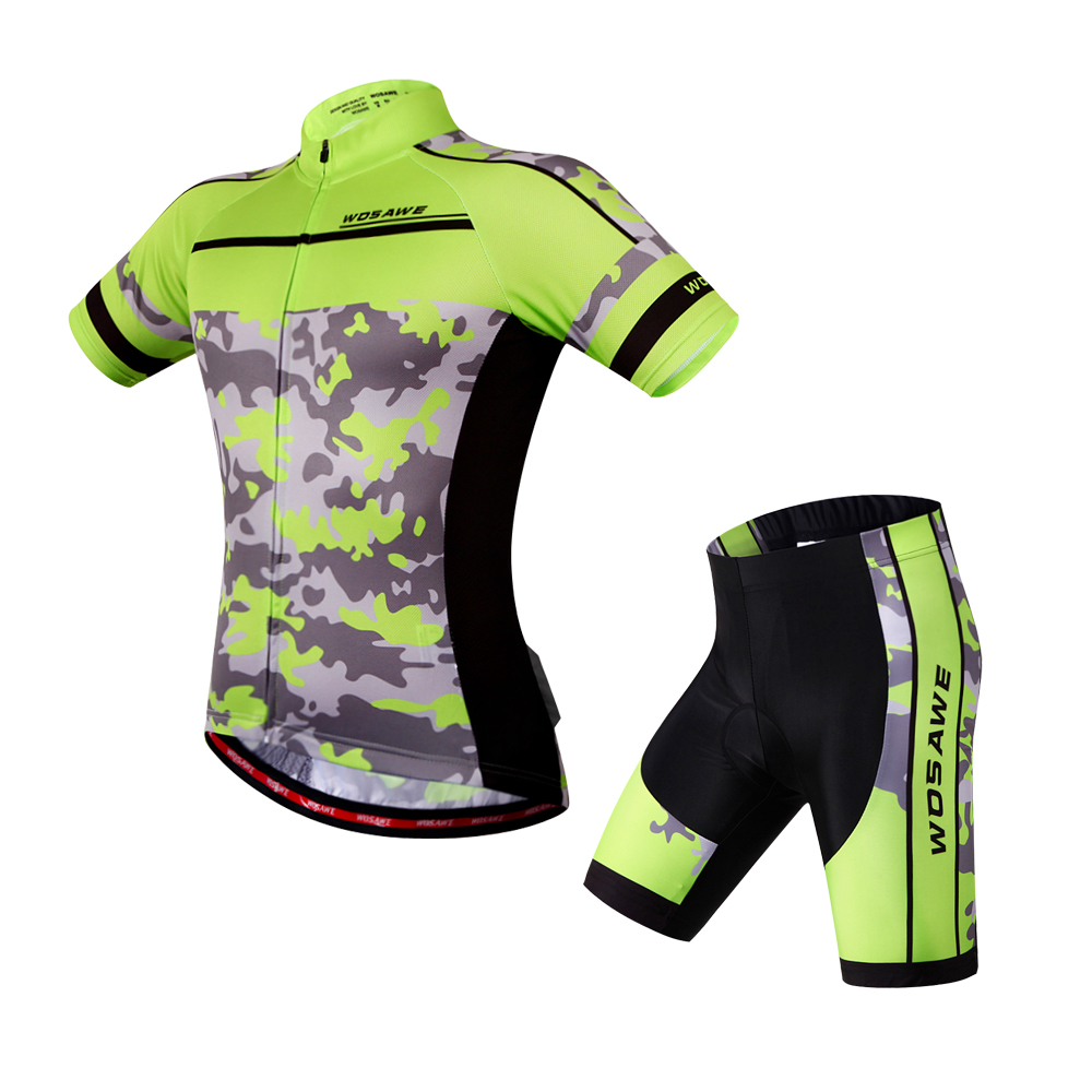 WOSAWE Camouflage Clothing Cycling Jersey Short Ropa De Ciclismo Maillot Cycling Clothes Set Bike Wear Gel Pad Breathable