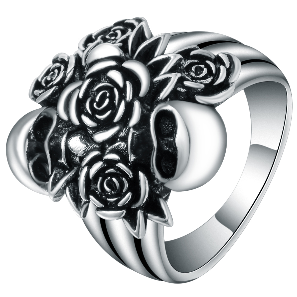 Vintage Antique Silver Color Rose Flower & Devil Death Skull Ring Womens Wedding Bands Punk Skeleton Party Ring New Anel