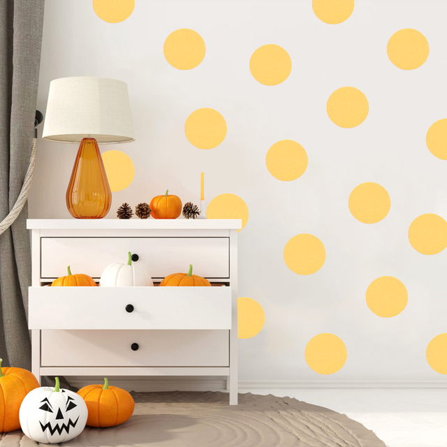 54pcs vinyl polka dot wall stickers child kids art baby nursery gold