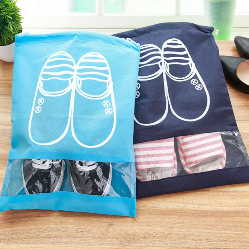 2pcs/lot Unisex Non-Woven Fabric Shoes Storage Bags Dustproof Waterproof Cover Hanging Travel Organizer Clothes Storage Bag A11