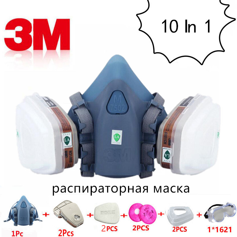 10 in 1 <font><b>3M</b></font> 7502 <font><b>6001</b></font> Gas Mask Respirator Protective Anti Dust Mask Industrial Refine Mine Spray Silica Gel Mask Chemical Goggles image