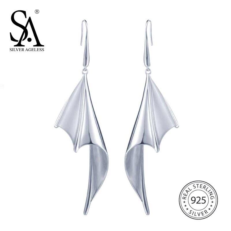 цена на AGELESS 925 Sterling Silver Fashion Big Bat Wings Drop Dangle Earrings For Women Silver Color Hyperbole Fine Earrings Jewelry