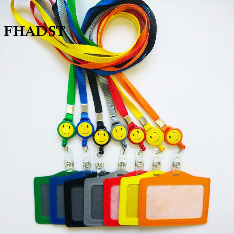 FHADST Id card holder Smile face Retractable Reel Lanyard Name Credit Card Holders Bank Neck Strap ID holders Identity badge fhadst no zipper cheap bank credit card holders bus id holders identity red yellow blue badge with retractable reel wholesale