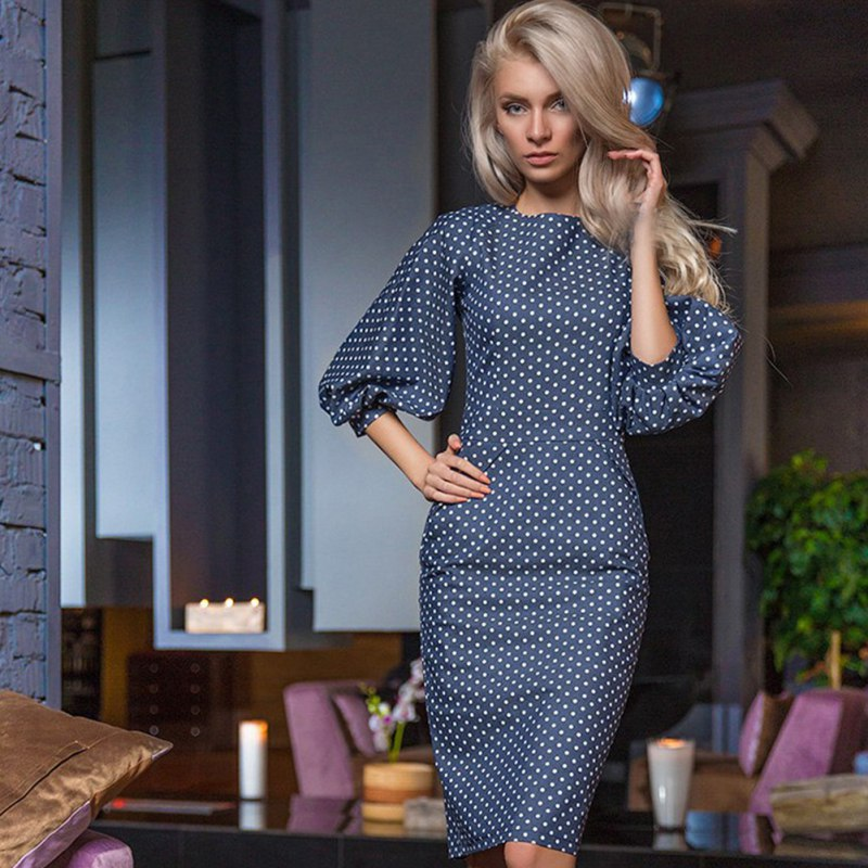 Dots vestidos de partido sólido de impresión verano de boho dress cintura alta c
