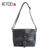 AETOO Original first layer of leather bag shoulder bag men's leather oblique shoulder bag pure leather postman package