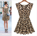 2016 Women Dress Sexy Strap Sheer Floral Lace Summer Dresses Hippie Dress Leopard round neck sleeveless dress sexy nightclub