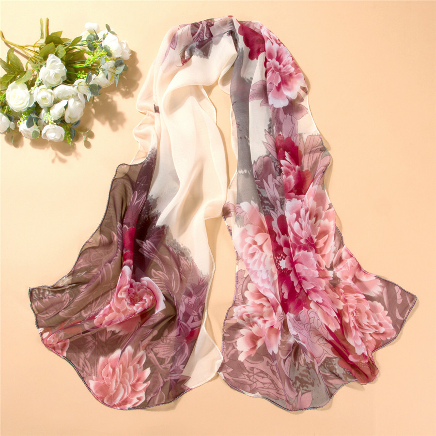 New Spring And Summer Explosion Models Multi-color Printed Chiffon Silk Scarf Ladies Wild Sunscreen Shawl Decorative Scarf