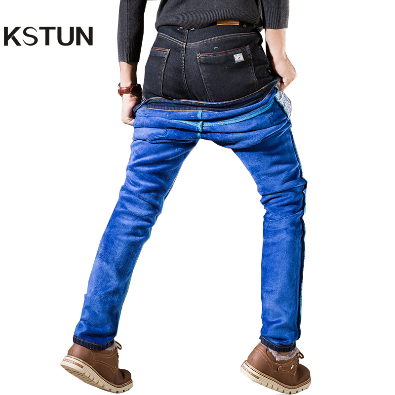 Jeans Men Autumn and Winter Thicken Fleece Warm Blue Black Elastic Slim Fit Denim Pants Long Trousers Large Big Size 40 42 men s cowboy jeans fashion blue jeans pant men plus sizes regular slim fit denim jean pants male high quality brand jeans