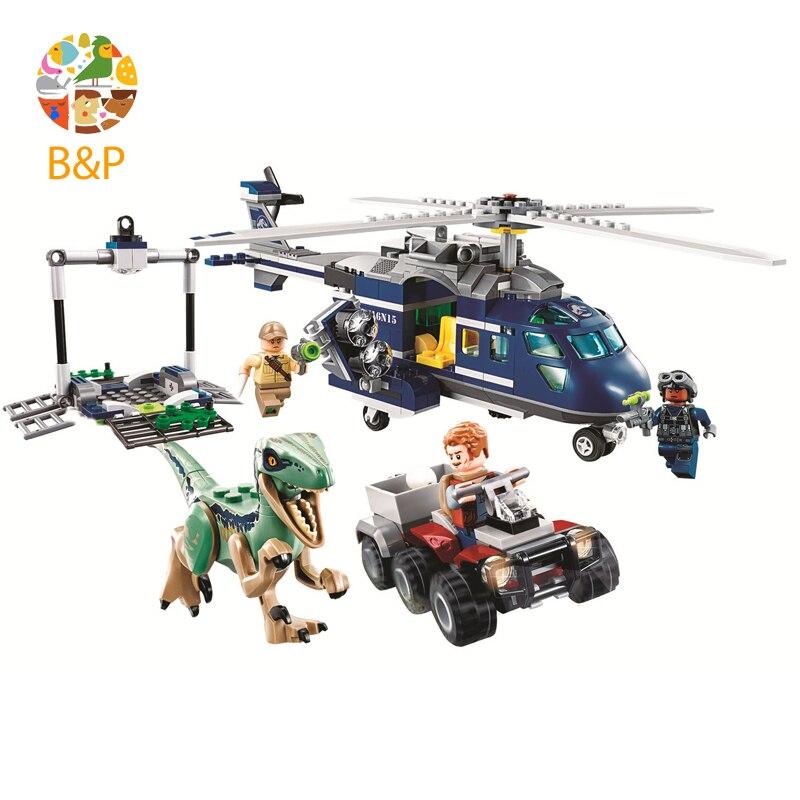2018 New legoing 75928 415pcs Jurassic World Blue's Helicopter Pursuit Chase Model Building Block Toys For Children Bela 10925