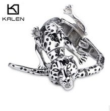 Kalen 2016 Gothic New Jewelry 316L Stainless Steel Animal  Leopard Bracelet&Bangle For Men 22cm Punk Cool Accessory Gift